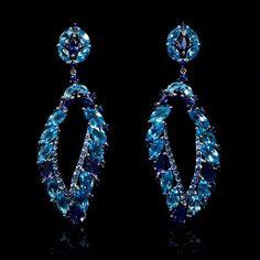 Blue Sapphire, Blue Topaz and Iolite 18k White Gold Dangle Earrings