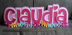 letreros en foami - Buscar con Google Name Crafts, Diy Crafts, Fancy Letters, Baby Shawer, Barbie Birthday, Name Plaques, Letter Art, Scrapbook, Cake Toppers