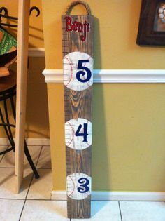 Wooden Baseball Ruler. Thought this would be cute for P's room @Katie Stemp
