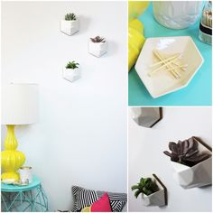 Simply vibrant - ceramic wall planters, ceramic jewelry dishes, pillows. All handmade. www.plaiddot.com