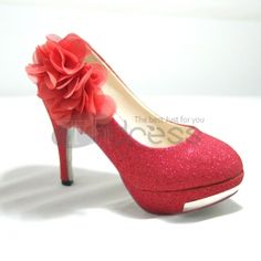 Red ultrahigh with PU marriage shoes