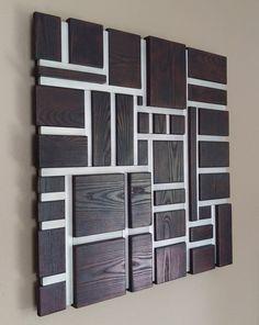 Wood Wall Art - Wall Art - Wood and Metal Mosaic Sculpture - Burnt Ash and Aluminum Wooden Wall Decor, Wooden Walls, Metal Walls, Wall Wood, Wall Décor, Art Mural 3d, 3d Wall Art, Art 3d, Mosaic Wall Art