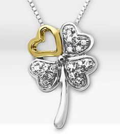 Celebrate St. Patrick's Day with festive jewelry, such as the Luck Always 14K Gold & Silver Four Leaf Clover .09 ct tw Diamond Pendant