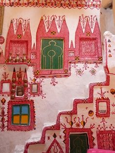 Interior decoration, traditional Ghadames house, Libya - somewhere between Barbapapa & the Moomins Vernacular Architecture, Art And Architecture, Architecture Details, Deco Restaurant, Bohemian House, African Art, Colorful Interiors, Interior And Exterior, Decoration