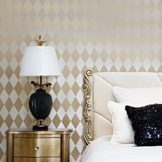 Beautiful wall stencil pattern Harlequin is perfect for accent walls! This geometric stencil design works beautifully on walls, curtains, floors and more! Wall stencil patterns for DIY decor at great prices by Cutting Edge Stencil! Cutting Edge Stencils, Geometric Stencil, Geometric Wall, Wall Stencil Patterns, Stencil Designs, Wallpaper Patterns, Wallpaper Stencil, Harlequin Wallpaper, Stencil Painting