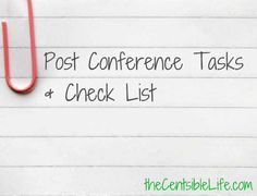 Post Conference Checklist + Tasks