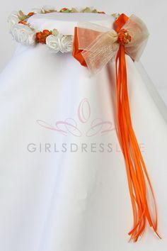 Ivory/Orange Head piece for the flower girl KHB007-IO $15.99 on www.GirlsDressLine.Com
