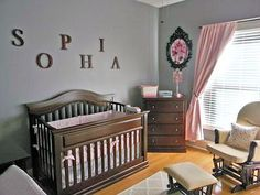 Pink and Gray Nursery with Baby Girl Name Letters Decorating the Wall over the Crib