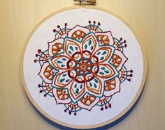 Garden of Hearts Mandala Embroidery Pattern and Kit by Theflossbox