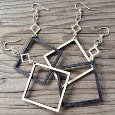 OPEN SQUARE Green Tree Jewelry CHOOSE COLOR laser-cut wood earrings 1257 #GreenTreeJewelry #DropDangle