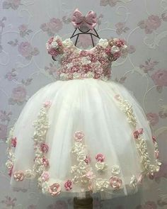 Cheap girls dress, Buy Quality little girls dresses directly from China dress for Suppliers: Flower Girl Dresses Ball Gown Pearls Flower Short Sleeve O Neck Long Wedding Pageant First Communion Dresses for Little Girls Frocks For Girls, Kids Frocks, Little Dresses, Little Girl Dresses, Cute Dresses, Girls Dresses, Flower Girl Dresses, Party Dresses, Robes Tutu