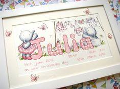 Baby girl alphabet art - washing line Unique Christening Gifts, Alphabet Art, Toy Chest, Gift Ideas, Frame, Baby, Design, Picture Frame