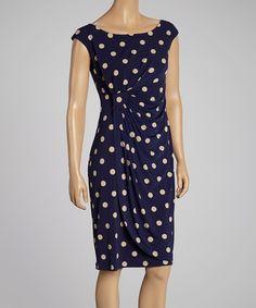 Look at this #zulilyfind! Navy & Taupe Polka Dot Gathered Dress by En Focus Studio #zulilyfinds