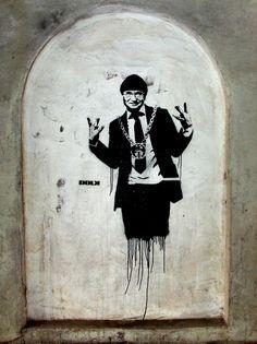 Street Art by Dolk in Bergen, Norway! Stencil of the mayor of Bergen Herman Friele