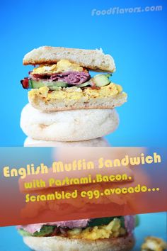 English muffin with hickory-smoked bacon,pastrami, scrambled egg with Colby Jack shredded cheese. Perfect English muffin breakfast sandwich. #EnglishMuffin #Breakfast #Sandwich