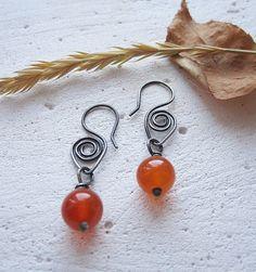 Silver Earrings Carnelian Earrings Orange Dangle by MaryBulanova