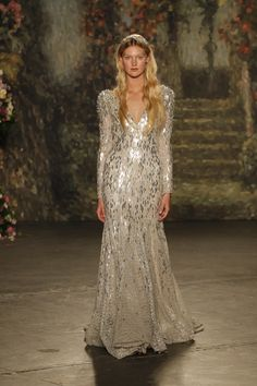 """Mermaid """"Hippolyth"""" gown with long sleeves and silver beading by Jenny Packham Spring 2016 Bridal Collection. Photography: Courtesy of Jenny Packham. Read More: http://www.insideweddings.com/news/fashion/jenny-packham-spring-2016-bridal-collection/1862/"""
