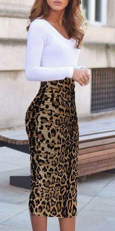 Women`s Elegant Ruched Frill Ruffle High Waist Pencil Mid-calf Skirt leopard print skirt outfit | leopard print skirt | leopard print skirt outfit ideas | leopard print skirt outfit fall | leopard print skirt outfit work |