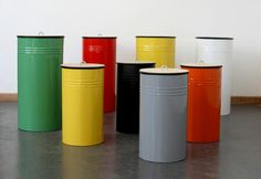 total covetable recycle bins from South Africa's design duo Pedersen+Lennard. #primarycolors #upcycle #trashcan