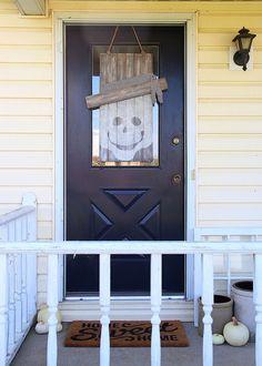 Neutral Skeleton Fall Door Hanger - Seasonal Character Door Hanger #DIHWorkshop #Seasonal  Pinterest.com/HomeDepot