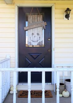 Neutral Skeleton Fall Door Hanger - Seasonal Character Door Hanger #DIHWorkshop #Seasonal  Pinterest.com/HomeDepot