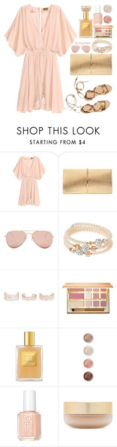 """Pink and Gold"" by samantha-1221 ❤ liked on Polyvore featuring Loeffler Randall, Nina Ricci, Betsey Johnson, sweet deluxe, New Look, tarte, Tom Ford, Terre Mère, Essie and Eve Lom"
