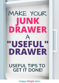 Declutter your junk drawer and clean it out for the last time. Not sure where to start with decluttering? This is an easy place to start getting organized! Declutter Your Home, Organize Your Life, Organizing Your Home, Organizing Tips, Decluttering Ideas, Tupperware Organizing, Organising, Home Organization Hacks