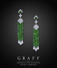 Graff Diamonds: Emerald and Diamond Tassel Earrings