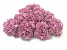 50 PCS PURPLE HANDMADE MULBERRY PAPER ROSES CARD CRAFT WEDDING PARTY DECOR 15mm…