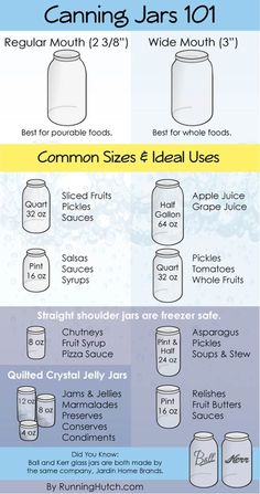 Canning Jars 101 | Here's A Quick and Easy Guide to Help You Pick The Best Canning Jar For The Job by Pioneer Settler at http://pioneersettler.com/26-canning-ideas-recipes/