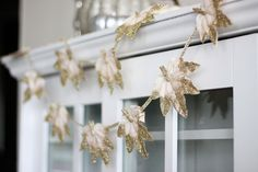 Glitter-dipped leaf garland for fall, from Two Delight.