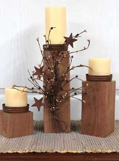Primitive/Country Candle Holders! Great for Outdoor Country Decor!