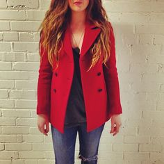 Add a pop of colour to your winter wardrobe with this gorgeous red peacoat from Wilfred Free, conveniently on sale now!