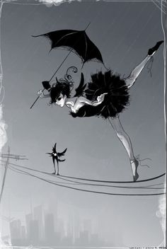 French balancing act illustration, ballet dancer with umbrella balancing on a wire, high wire act