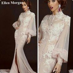 [Click image to buy!] Long Sleeve Evening Party Dresses 2017 Elegant Caftan Split High Neck Lace Tulle Celebrity Formal Prom Gowns For Women Wear ~ Shop 4 Xmas n 2018. Just click the VISIT button will lead you to find similar beautiful pieces on  AliExpress.com. #Jewelry