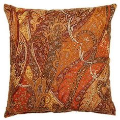 Paisley Silk Spice 19-inch Throw Pillows (Set of 2) | Overstock.com Shopping - Great Deals on Throw Pillows