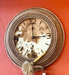 Completely made by hand, each clock features rope coiled around a cowhide face featuring branded numbers. Rope and cowhide color may vary. Cowboy Crafts, Western Crafts, Western Decor, Rope Crafts, Diy And Crafts, Santa Fe, Arts And Crafts Storage, Rope Decor, Rope Art