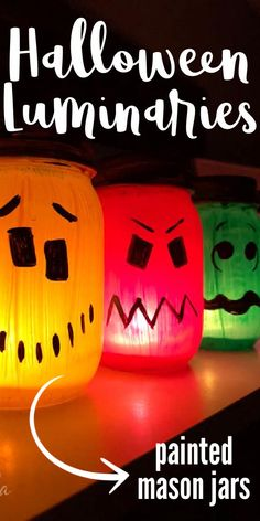 These Halloween luminaries are bright, colorful and easy to make! Make different faces for your Halloween luminaries for a fun collection of ghouls! #halloween #luminaries #kidscrafts #paintedjar #masonjar #paintingonglass #halloweendecor #craftsbyamanda Scary Decorations, Halloween Decorations, Holidays Halloween, Halloween Diy, Craft Activities For Kids, Crafts For Kids, Spooky Costumes, Recycled Jars, Holiday Program