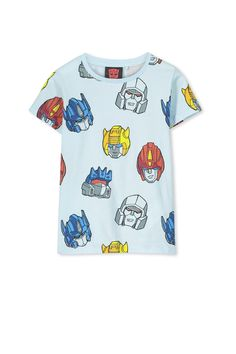 816349704045 Boys Transformers Heads Short Sleeve Tee