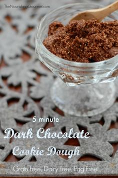 Dark Chocolate Cookie Dough - This grain free, dairy free, egg free cookie dough is so delicious! It only uses 5 ingredients, and takes 5 minutes to make! --- The Nourishing Gourmet