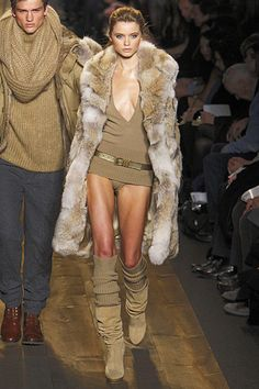MICHAEL KORS FALL2010.  When it's cold enough to wear a fur coat that's the time to remove your pants.