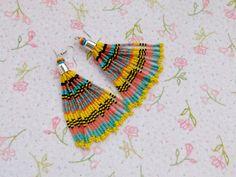 Diy Bracelets Patterns, Beaded Earrings Patterns, Beaded Tassel Earrings, Tassel Jewelry, Bead Jewellery, Etsy Earrings, Beaded Chandelier, Fringe Earrings, Bead Earrings