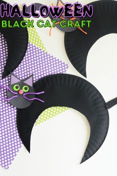 A fun project for Halloween that is perfect for elementary aged kids! This craft only uses a few supplies you likely have on hand! These paper plate cats make cute classroom decorations or will be cute in your windows to decorate for October 31st. Check out the simple steps to creating these cats at home or in the classroom! Fun Halloween Activities, Free Activities For Kids, Toddler Learning Activities, Halloween Crafts For Kids, Cute Classroom Decorations, Classroom Crafts, Ghost Crafts, Spider Crafts, Paper Plate Crafts For Kids