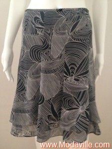 Tahari black/white floral print flounce skirt http://www.modaville.com/store/shop/all/tahari-blackwhite-flower-print-flounce-skirt/