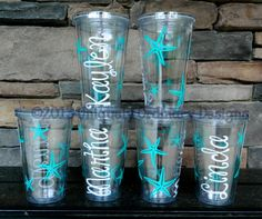 Set of 6 Custom Personalized  Starfish Beach Vacation Bride Bridesmaid Bachelorette Desination Wedding Girls Trip Tumblers