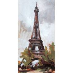 """GreenBox Art 'Eiffel Tower' by Suzanne Baker Painting Print on Wrapped Canvas Size: 36"""" H x 18"""" W x 1.5"""" D"""
