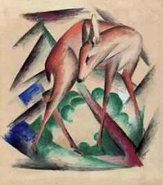 """Franz Marc' """"Reh"""" I love Franz Marc's work. This beautiful piece is being auctioned at Christies sale: Impressionist/Modern Evening Sal. Franz Marc, Emil Nolde, Wassily Kandinsky, Paul Klee, Cavalier Bleu, Blue Rider, Deer Pictures, Expressionist Artists, Animal Paintings"""