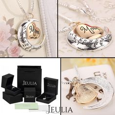 Polishing Silver with Gold Plated 'I Love You to the Moon And Back,Mom' Necklace For the Gift of Mother's Day. #jeulia #necklace #fashionjewelry.
