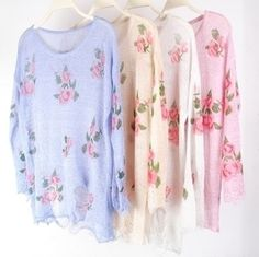 kawaii fashion on sale!only 3 days!Vintage rose ripped Sweater knit $19.99 http://sweetbox.storenvy.com/products/2135841-on-sale-only-3-days-vintage-rose-ripped-sweater-knit
