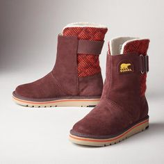 CAMPUS BOOTS--Adventure is calling: Sorel®'s slip-on boots are the answer. Water-resistant suede with knit and quilted accents. Fleece lined. Rubber soles.
